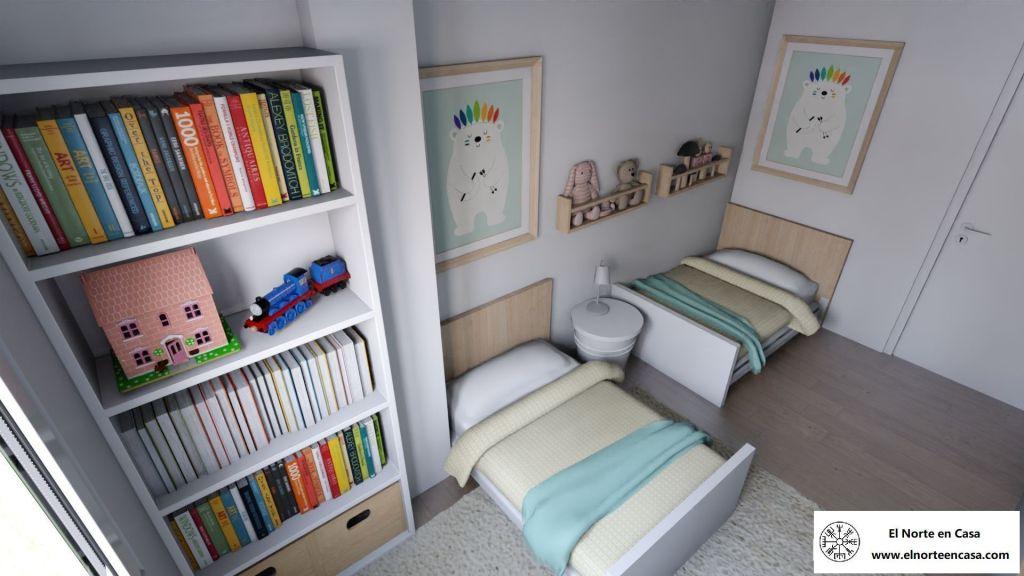 Dormitorio de Ikea para mellizos con camas extensibles
