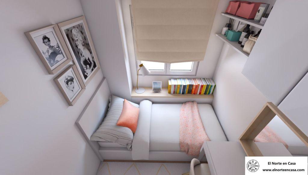 dormitorio juvenil en blanco y coral