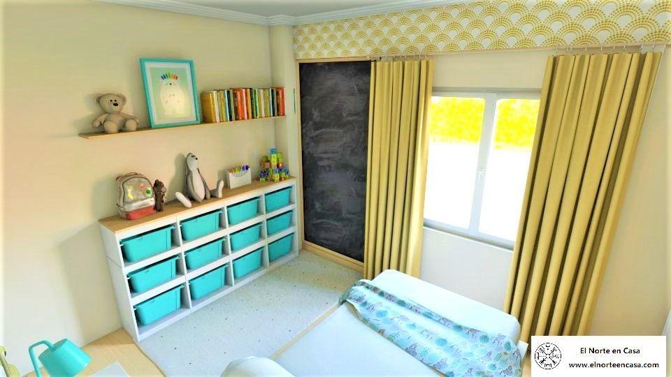 Dormitorio infantil con mucho almacenaje