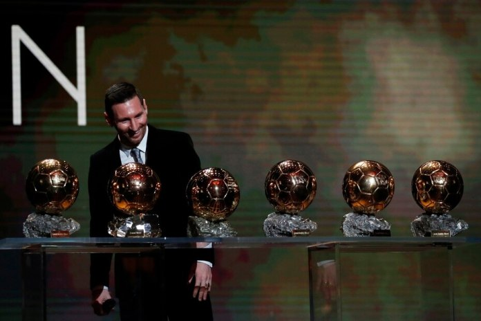 With the Barca jacket, Messi won the Ballon d'Or for the best player in the world six times.  In the photo with his trophies in 2019.