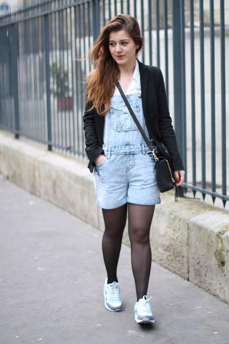 salopette-short en jean