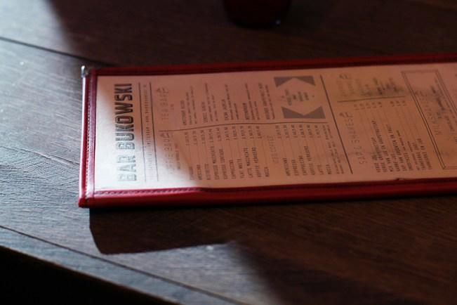 bar bukowski menu
