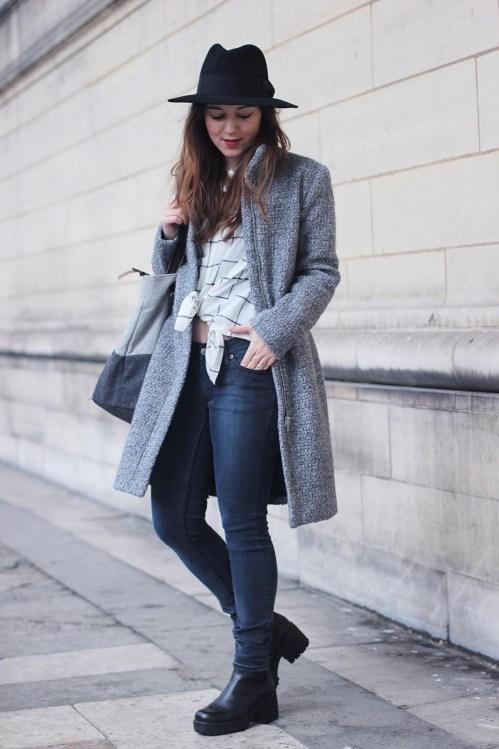 look manteau gris