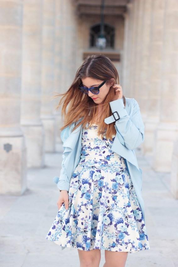 trench bleu pastel