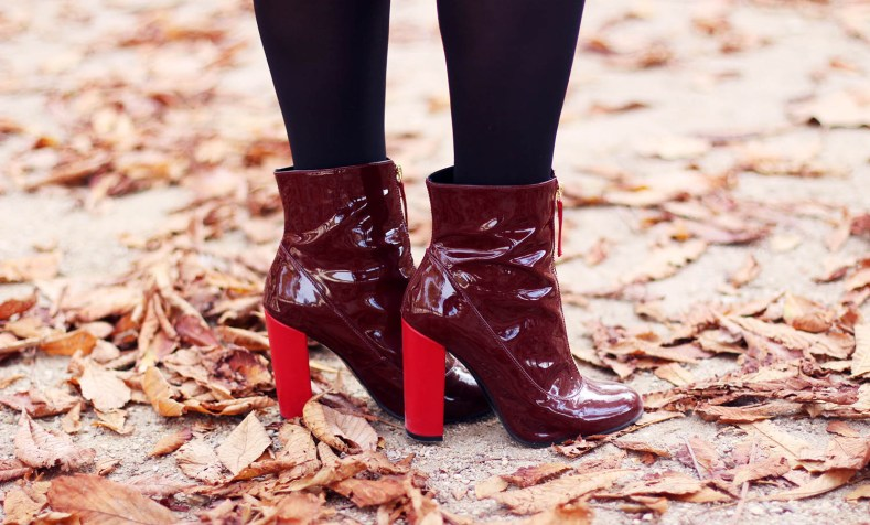 bottines rouges vernies