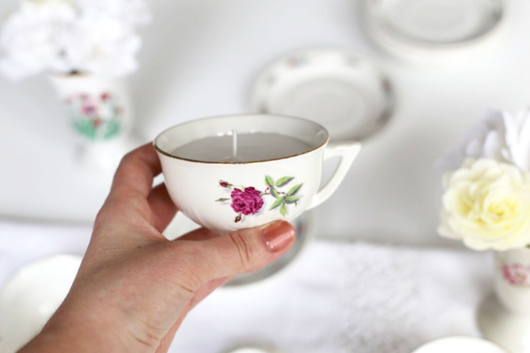 160323 bougie vintage tasse Détourner ses tasses vintage en bougies