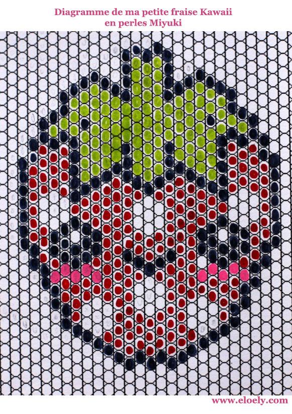 160421 diagramme miyuki fraise kawaii brickstitch Une petite fraise Hama en perles Miyuki (diagramme gratuit))