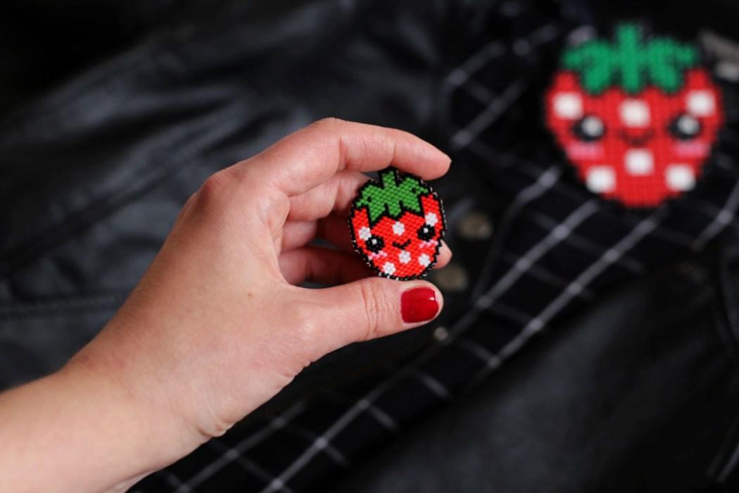 160421 miyuki kawaii fraise2 Une petite fraise Hama en perles Miyuki (diagramme gratuit))