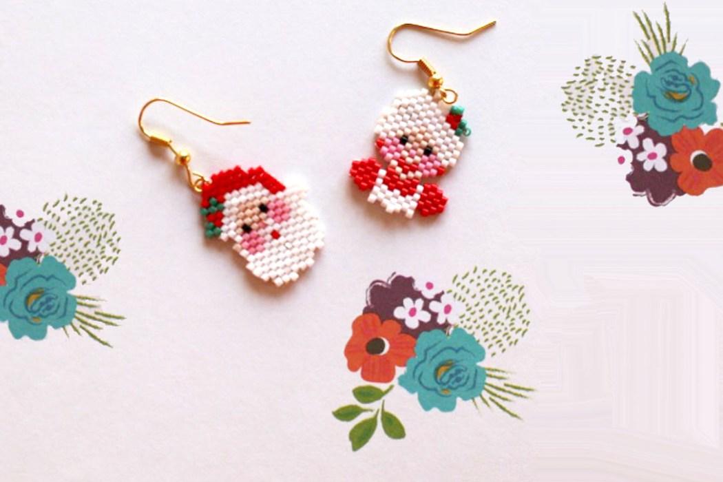 161205 boucle oreilles miyuki noel Mes boucles doreilles Kitsch de Noel en Miyuki