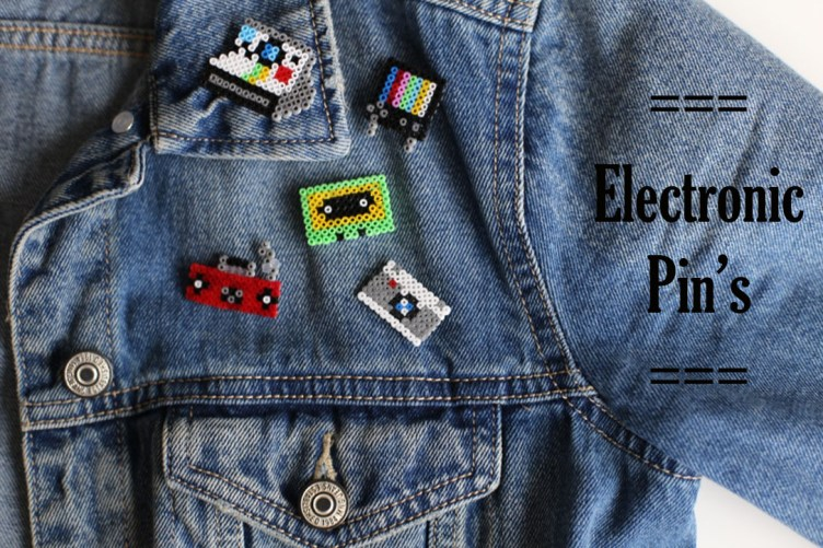 Mes badges electronic design en Mini perles Hama
