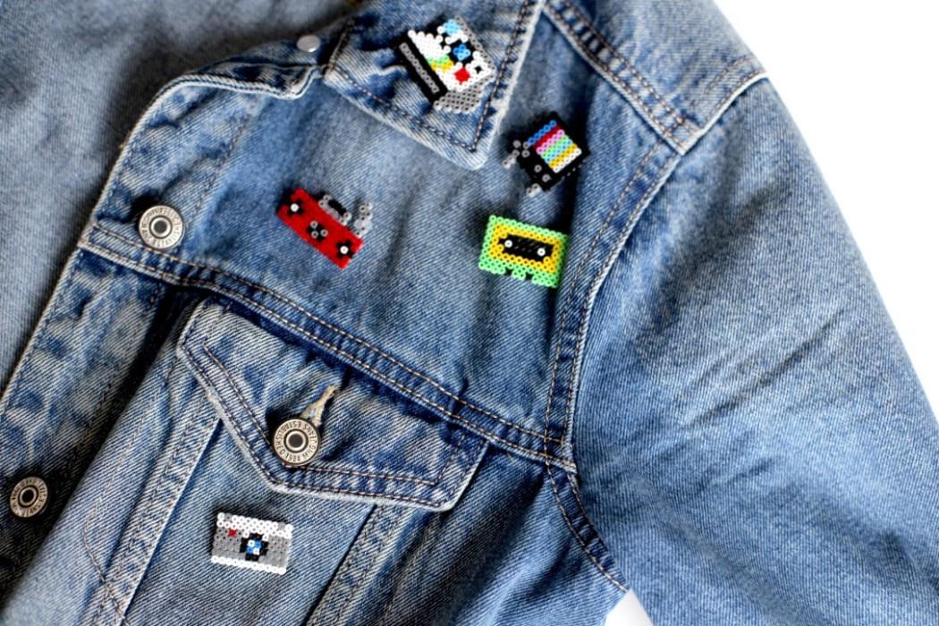 170125 perles hama mini vintage electronic jeans badge Mes badges electronic design en Mini perles Hama