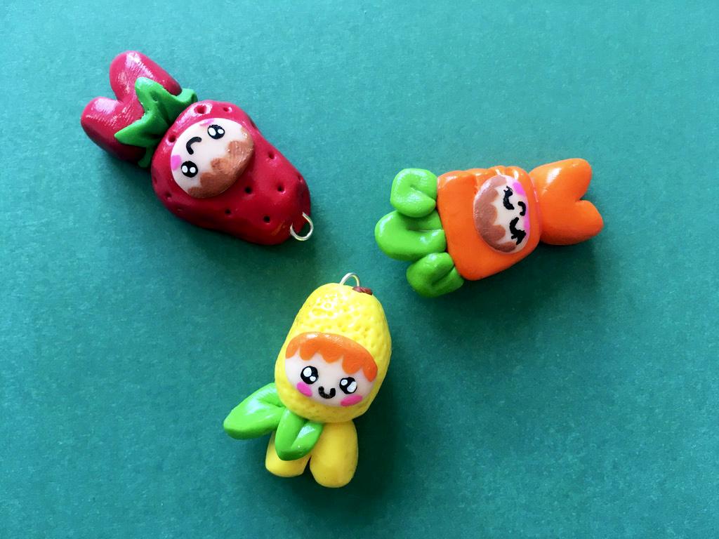 170618 lutin fraise citron carotte missbonbon pate fimo Mes débuts Kawaii avec la pâte polymère