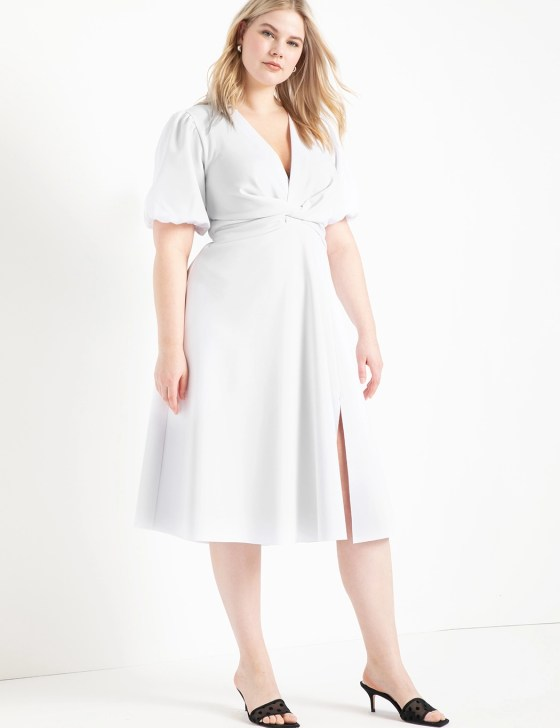 Puff Sleeve Fit and Flare Dress 4