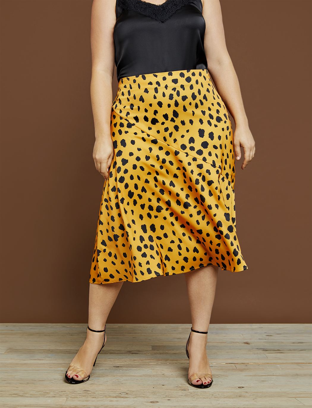R29 x ELOQUII Printed Satin Column Skirt