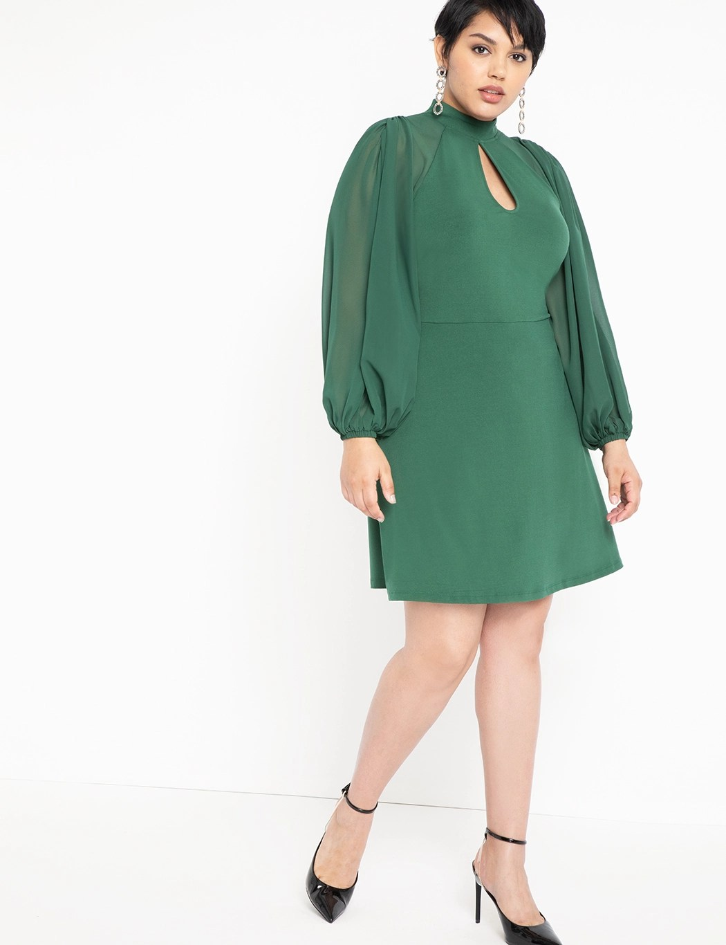 Slit Front Dress with Sheer Sleeves 8