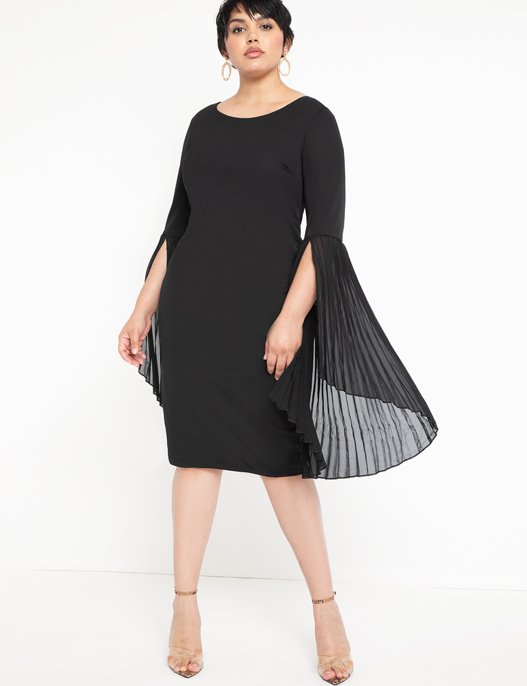 Pleated Flare Sleeve Dress 3