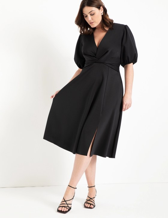 Puff Sleeve Fit and Flare Dress 1