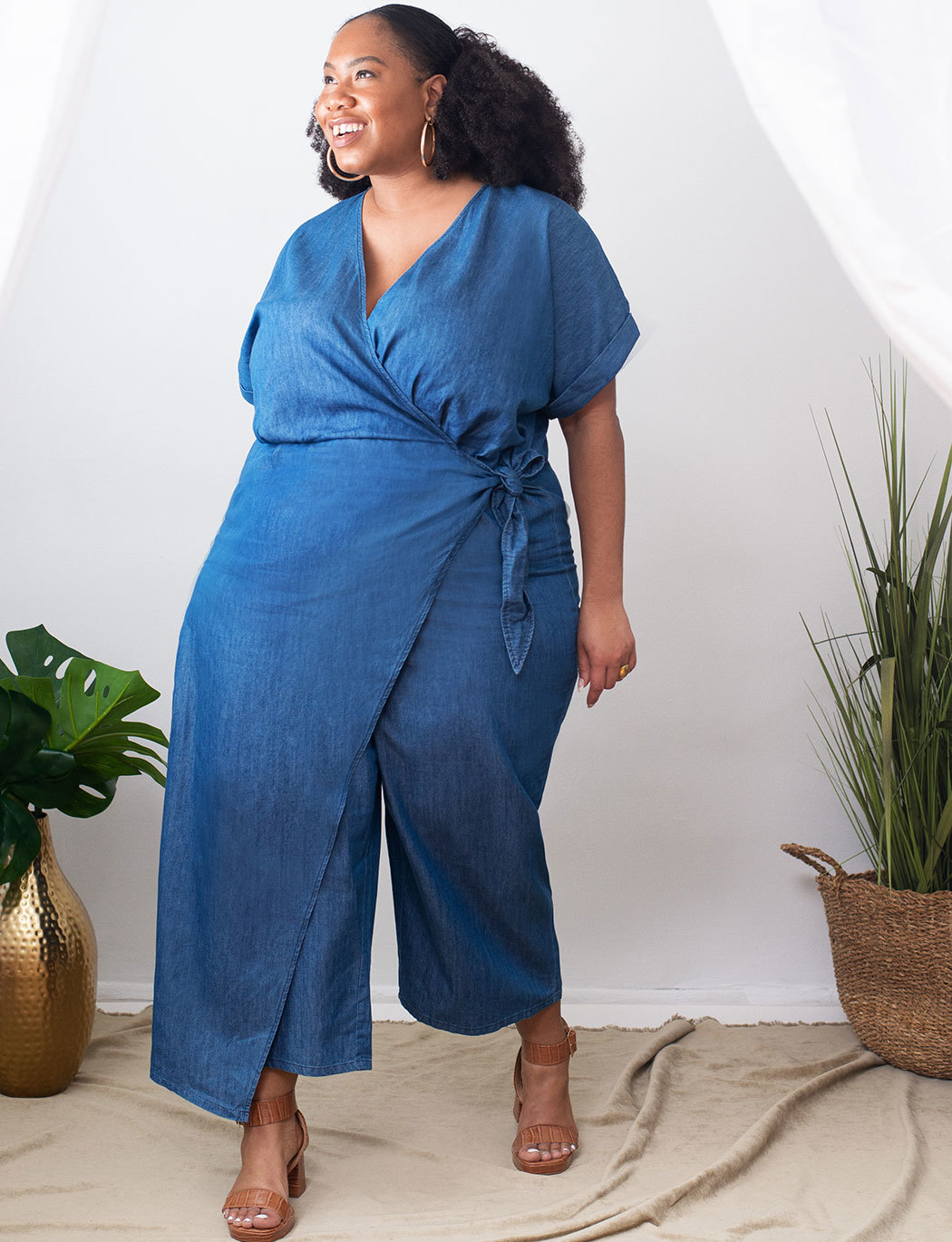 Chambray Wrap Jumpsuit