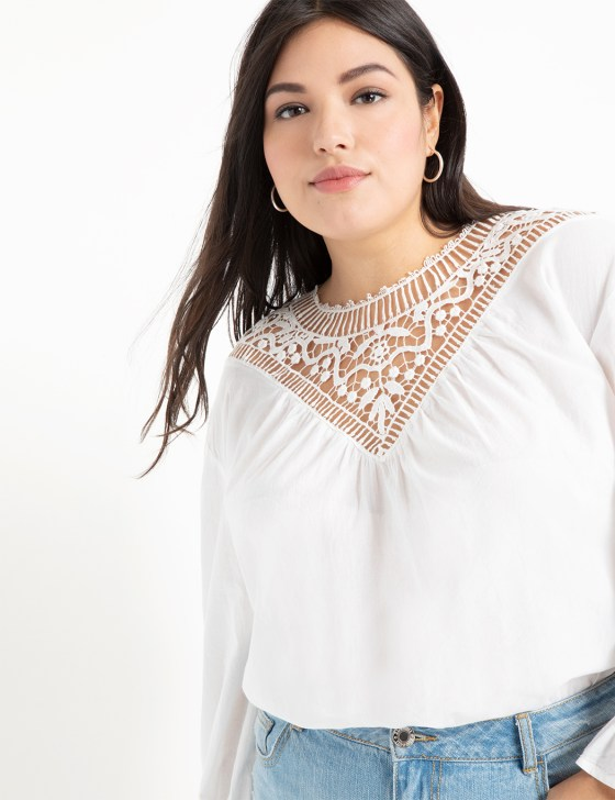 Lace Yoke Blouse with Puff Sleeve 6