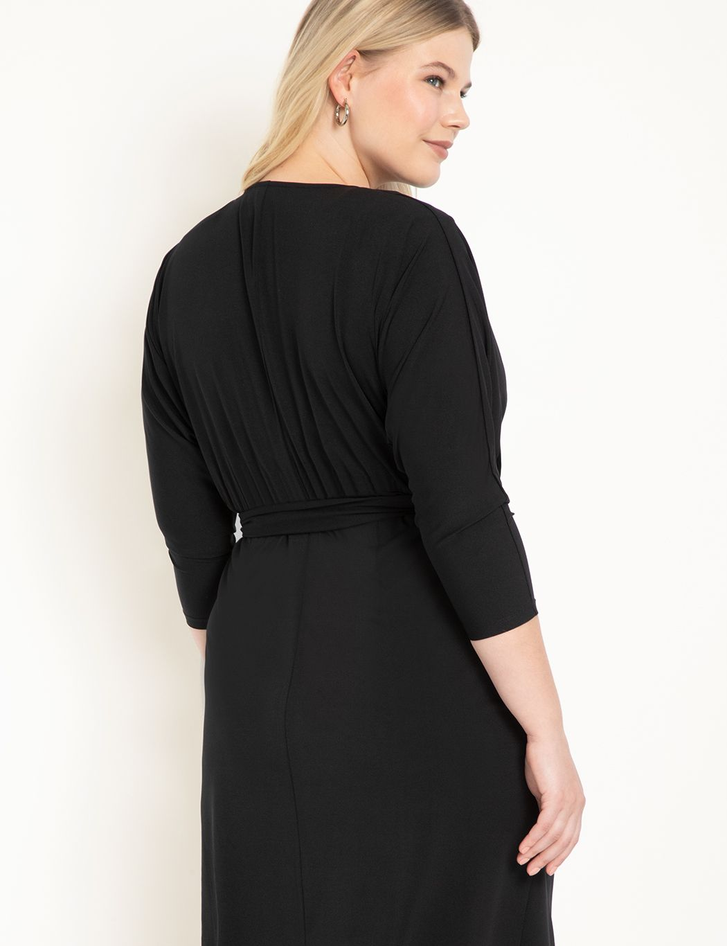 Sharp Shoulder Wrap Dress