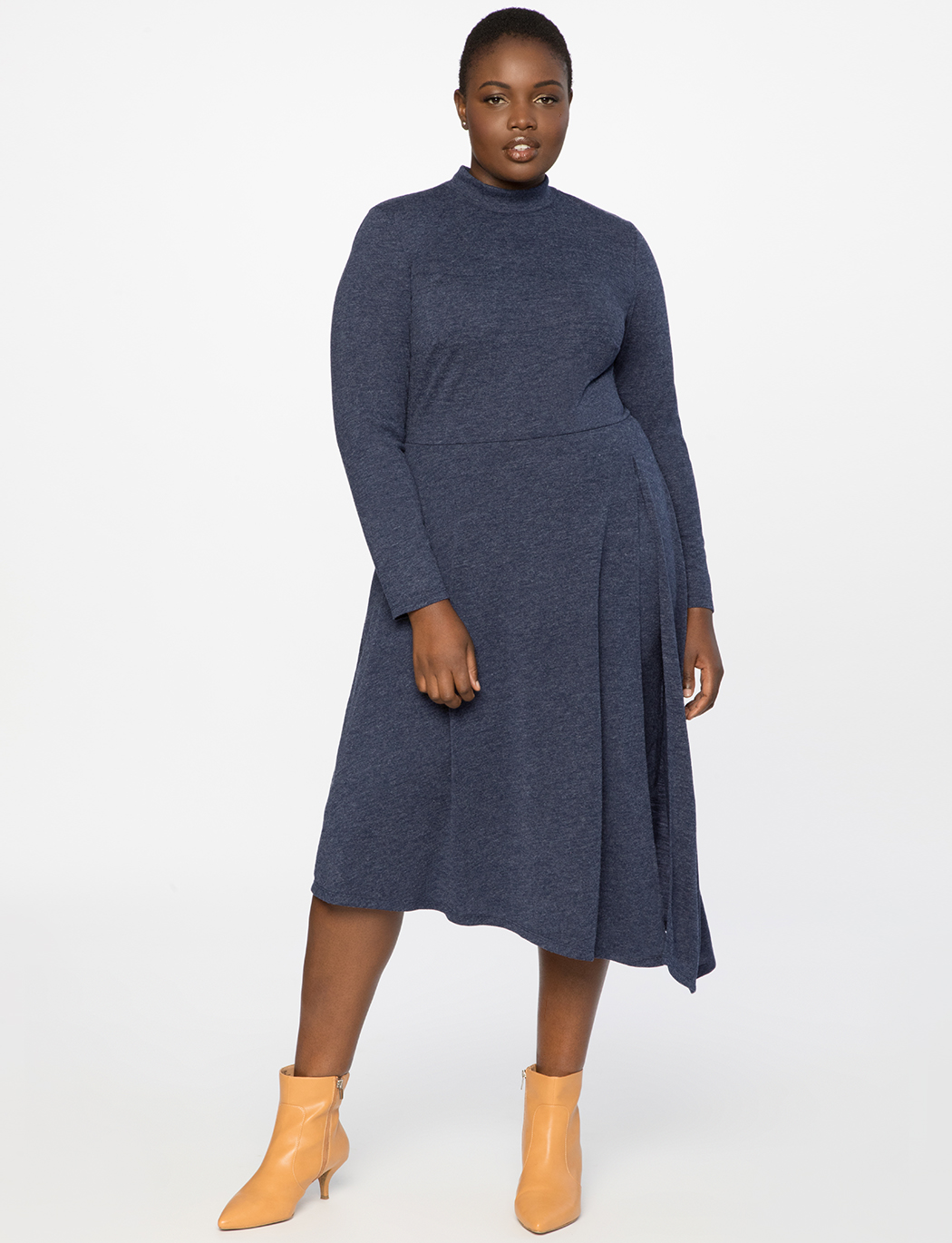 Asymmetrical Turtleneck Dress with Slit 13