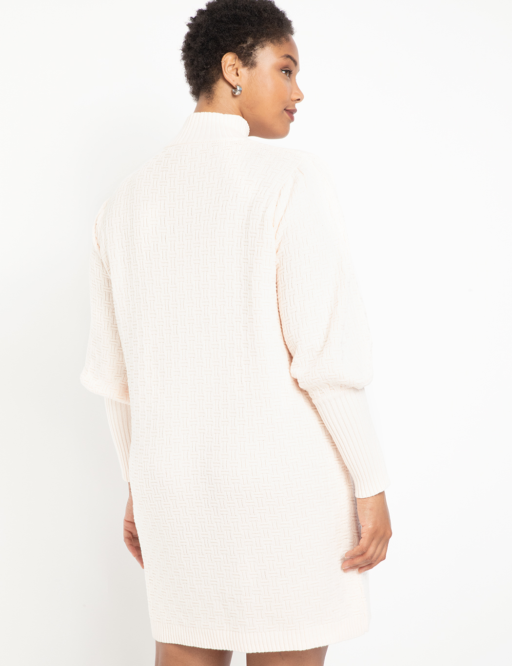 Turtleneck Puff Sleeve Sweater Dress