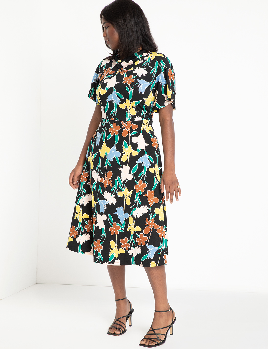 Cowl Fit And Flare Dress