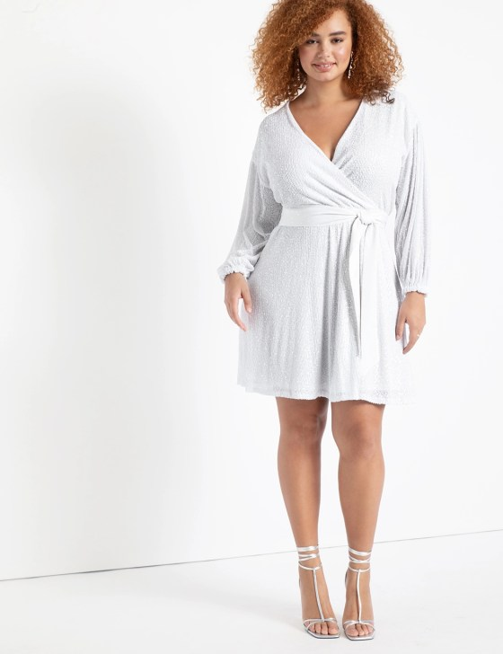 Belted Sequin Wrap Dress 3