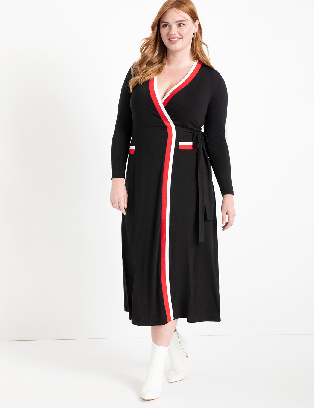 Maxi Wrap Dress with Contrast Tipping 4