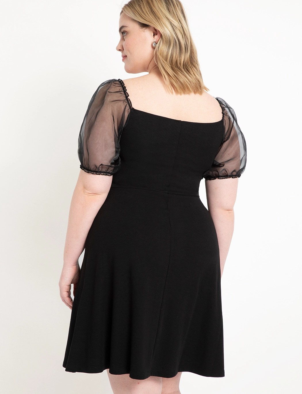 A-line Dress with Organza Sleeves