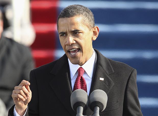 Barack H. Obama durante su primer discurso como presidente de Estados Unidos, en el que ha apelado al esfuerzo y la responsabilidad de los estadounidenses para salir de la crisis
