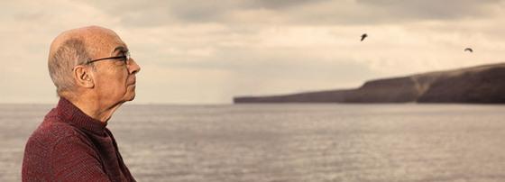 Saramago y al fondo el mar