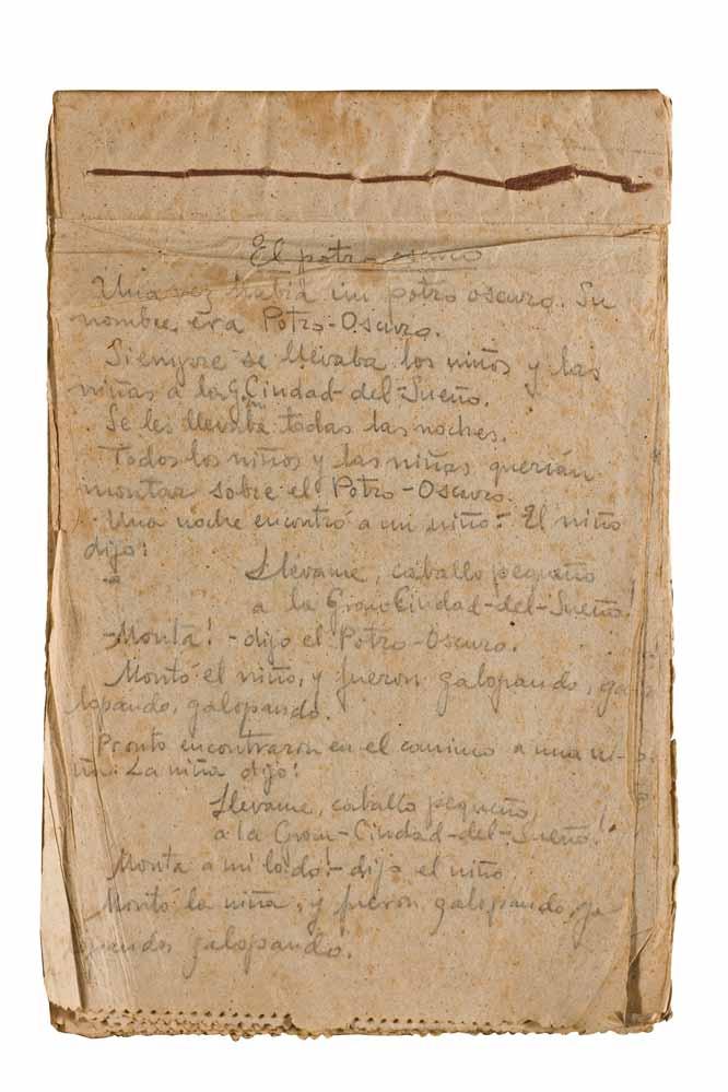 Manuscrito de los cuentos 'El proto oscuro', 'un hogar en el árbol', 'el conejito' y 'la gatita Mancha y el Ovillo Rojo', finales de 1941