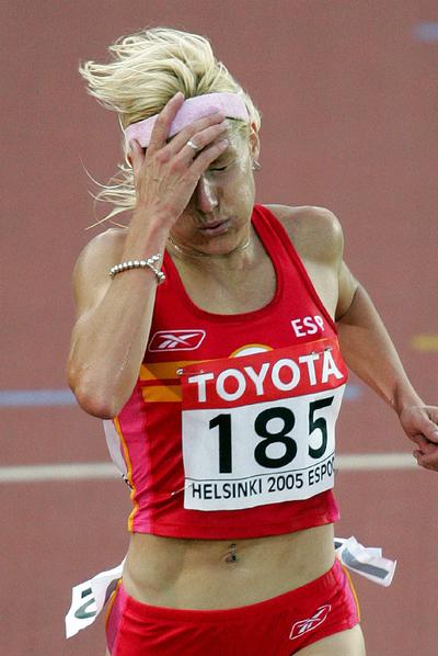 Marta Domínguez en uno de los Mundiales disputados