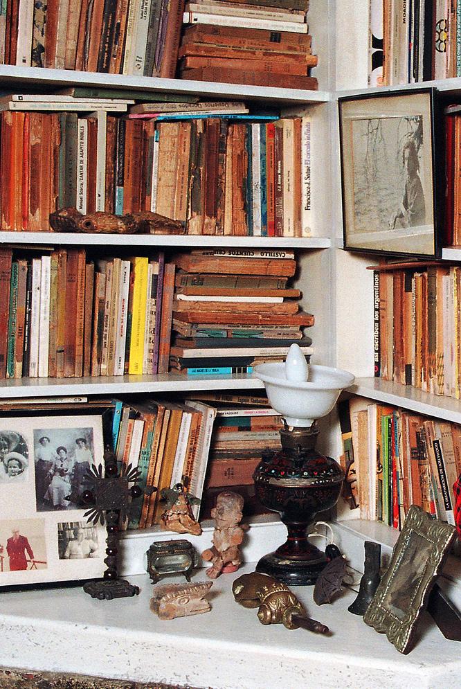 Un rincón de la biblioteca de Ernesto Sábato