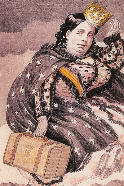 Caricatura de Isabel II