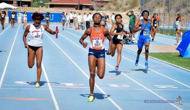 UTEP's Tobi Amusan takes the lead on the last leg of the Women's 4X100 Final at the 2017 CUSA Track and field meet, Finals Kidd Field El Paso Texas