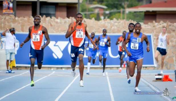 UTEP's Jonah Koech (#410) takes the lead in in the Men's 800 meter dash at the 2017 CUSA Track and field meet, Finals Kidd Field El Paso Texas