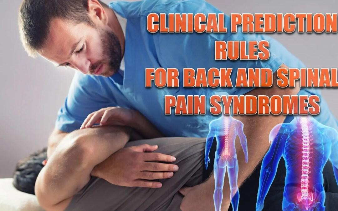 Regole di previsione clinica per sindromi da dolore alla schiena e al midollo spinale