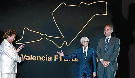 Barberá, Ecclestone y Camps presentan, en mayo del 2007, el proyecto valenciano de la F-1.