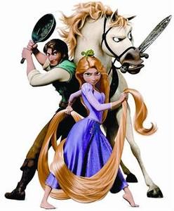 La princesa Rapunzel, con los otros personajes de la película 'Enredados'.