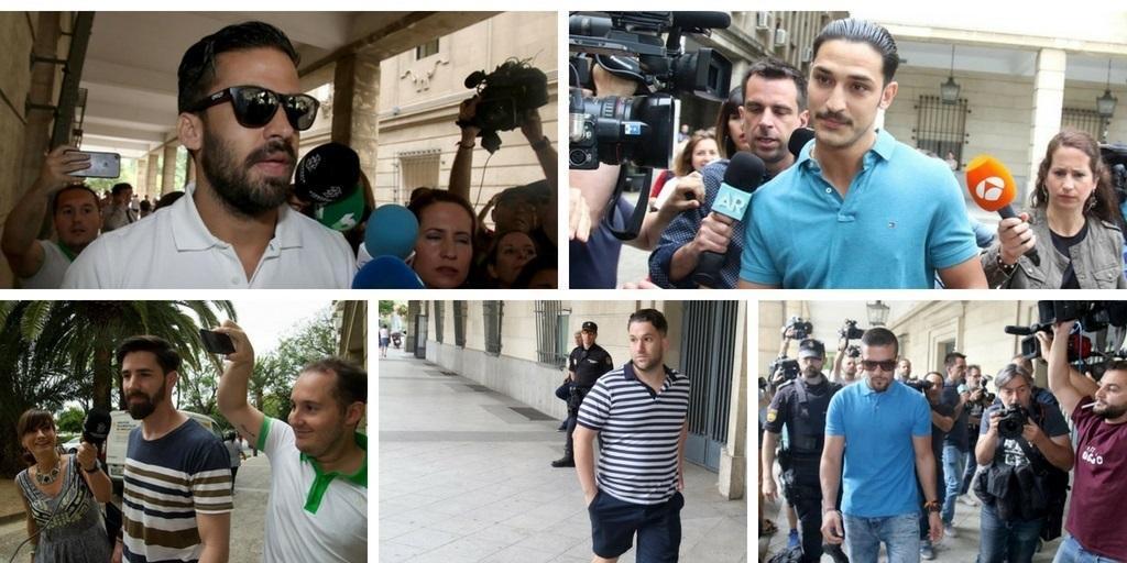Los miembros de La Manada acuden a firmar a los juzgados de Sevilla - EP
