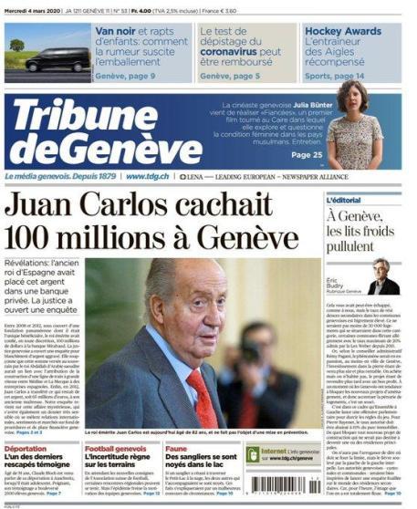 Portada Tribune de Geneve
