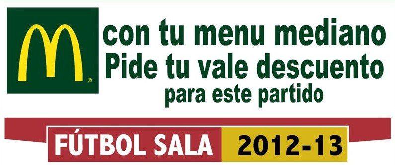 Sólo hoy en MCDONALDS consigue un descuento 3 Euros para ver éste viernes el partido ElPozo Murcia-Marfil Santa Coloma