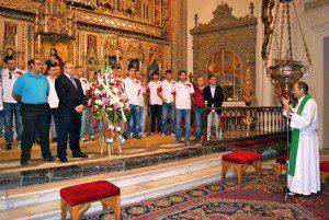 Jugadores y cuerpo técnico en la Catedral de Murcia
