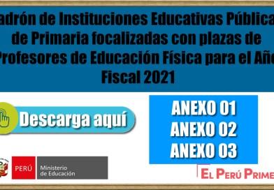 Padrón de Instituciones Educativas Públicas de Primaria focalizadas con plazas de Profesores de Educación Física para el Año Fiscal 2021[Conócelo Aquí]