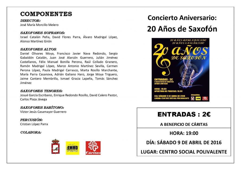 20 años de saxofón-Programa de mano (1)