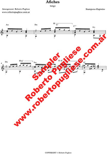 Afiches 🎼 tango partitura de guitarra