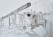 Amor bajo el tren - dibujo perteneciente al video Melodia de arrabal por Roberto Pugliese
