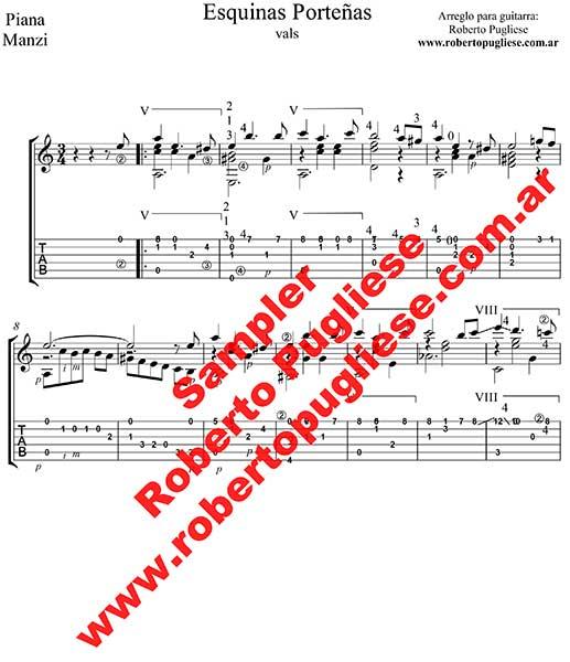 Esquinas porteñas 🎼 partitura de guitarra